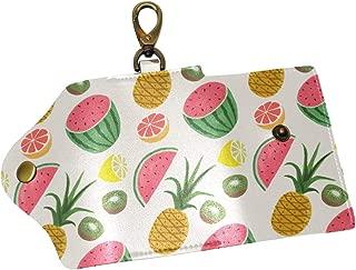 KEAKIA Pineapple Pattern Leather Key Case Wallets Tri-fold Key Holder Keychains with 6 Hooks 2 Slot Snap Closure for Men Women