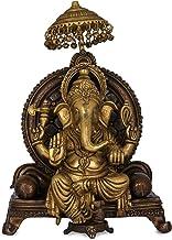 King Ganesha Seated on Royal Throne - Brass Statue