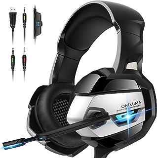Audífonos Gamer Auriculares para juegos con micrófono para PS4 Auriculares Xbox One con micrófono con cancelación de ruido 7.1 Auriculares para juegos con graves envolventes sobre la oreja para Playstation 4 PC Mac Laptop Headset K5 Negro