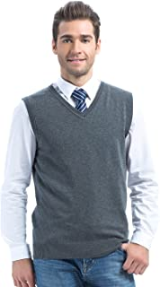 Choies Men's Casual Slim Fit Knitted V-Neck Sweater Vests