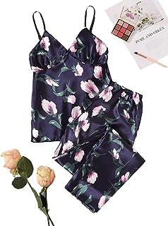 SheIn Women's 2 Pieces Floral Satin Pajama Set Sleeveless Strap Cami Long Pants