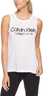 Calvin Klein Women's Logo Sleeveless Tank Top, White/Black
