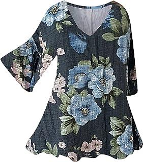 T-shirt voor dames, bedrukte blouse, tops, los hemd, sweatshirt met lange mouwen, zomerjurk, 2/3 lange mouwen, V-hals, cas...