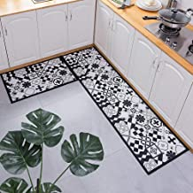 Kitchen Mat Black and White Dirty-Proof Long Carpet Doormat Bedside Bathroom Bath Floor Mat Non-Slip doormats Rugs 50x80+5...