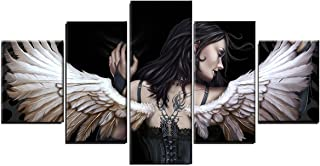 5pcs/Set Gothic Angel Wall Art Picture Canvas Paintings Prints for Living Room Bedroom Home Decoration (UNFRAMED,2pcs 12