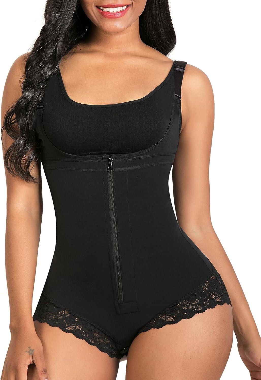 SHAPERX Shapewear for Women Tummy Control Fajas Colombianas Body Shaper Zipper Open Bust Bodysuit