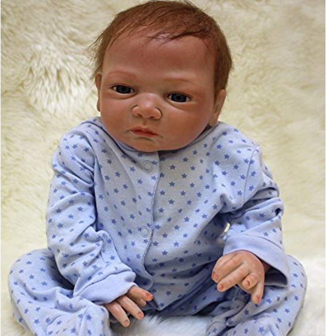 Realistic Reborn Baby Dolls Boys free shipping Eyes Lifelike 22 gift Sili Inch Open