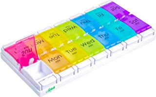 Motech Large 7-Day AM PM Push Button Twice A Day Pill Organizer Weekly Daily Rainbow Colored Extra Large XL Medicine Planner Box for Vitamins Fish Oil Supplements Prescription Arthritis Medication