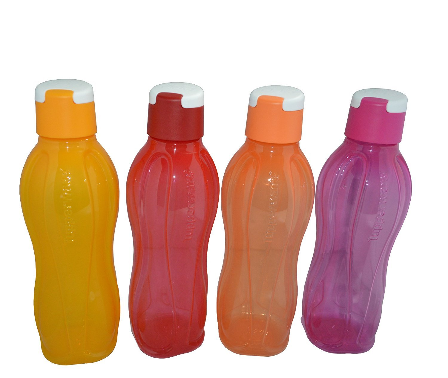 Multicolor Set Of 4 Tupperware Aquaslim Flip Top Slim Water Bottle 1 L Each