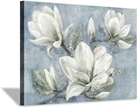 """Abstract Floral Picture Wall Art: Hand-Painted White Magnolia Flower Painting Artwork for Bedroom (36'' x 24"""" x 1 Panel)"""