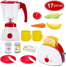 Toy Life Toy Blender and Toy Toaster with Pretend Play Kitchen Accessories for Toddlers Set   Cooking Toy Kitchen Appliances Set Includes Bonus Plates Utensils and Play Food for Kids