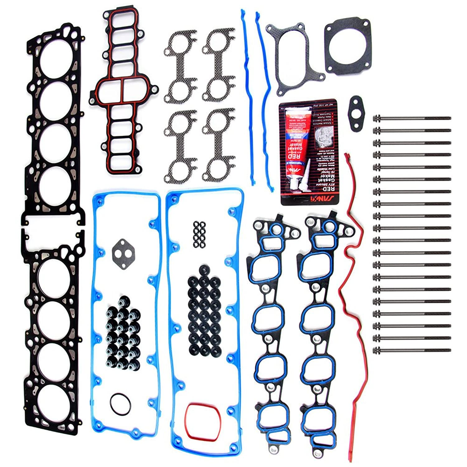 ECCPP Head Gasket Sets with Bolts Replacement for Automotive Replacement Engine Head Gasket Kits for Ford E-150/E-250 F-150 Expedition E-150 Econoline 2002-2004 4.6L 5.4L V8 SOHC