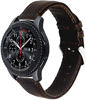 Leather Band With Steel Clasp For Samsung Gear S3 Classic and Gear S3 Frontier - Dark Brown