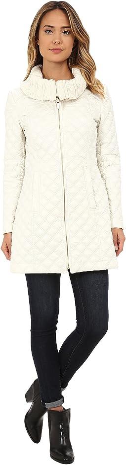 Diamond Quilt Coat w/ Knit Collar