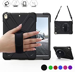 """BRAECN iPad AIR 10.5"""" (3rd Gen) 2019 Case/iPad Pro 10.5 Case with 360 Degree Swivel Stand/Hand Strap and Shoulder Strap Case[Heavy Duty] Three Layer Ultra Hybrid Shockproof Protective Case (Black)"""