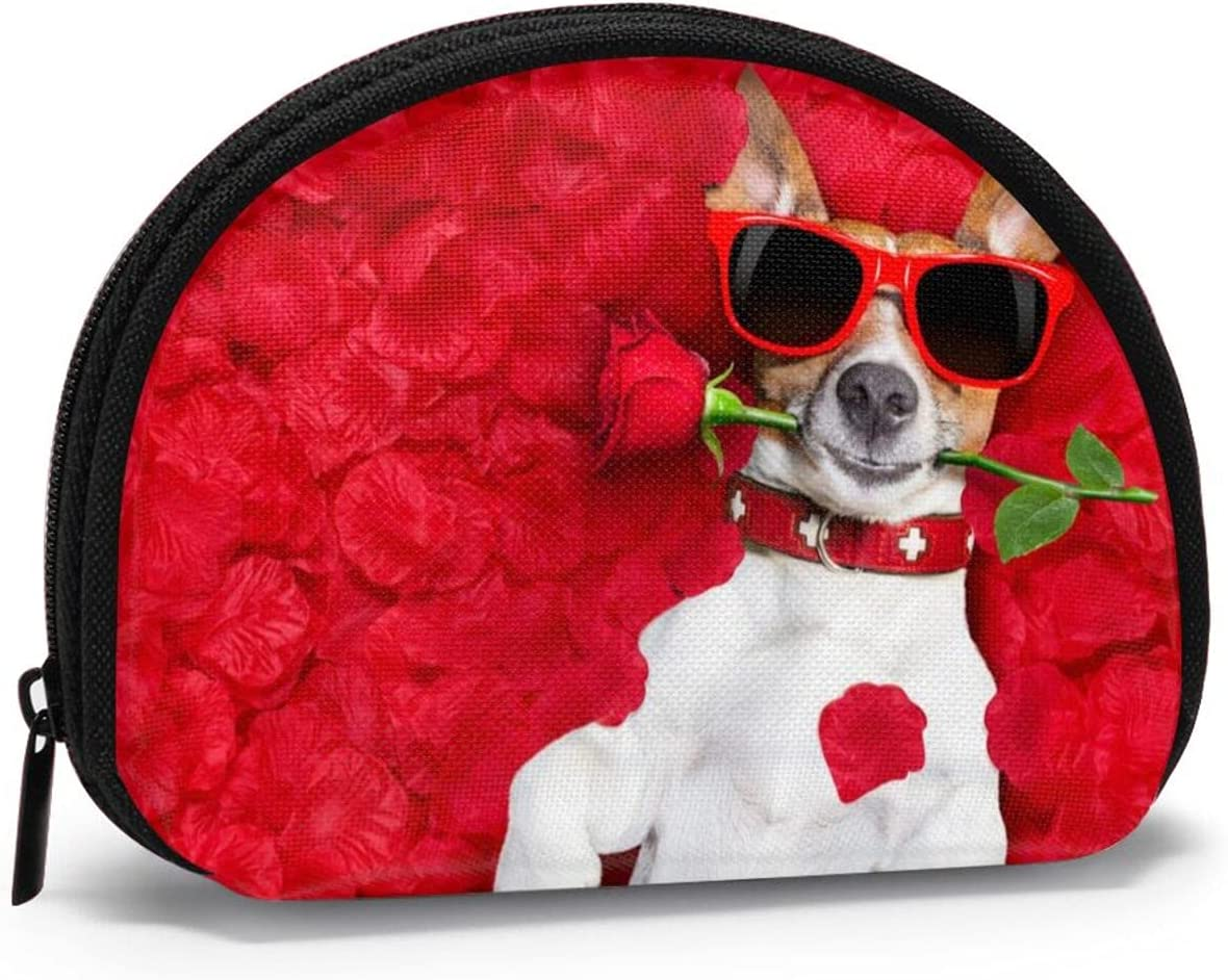 Cute Fashion Coin Purse,Dogs Wear Glasses Roses Small Zipper Wallet Change Pouch Holiday Gifts For Girls
