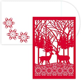 Masterpiece Holiday Collection 12-Count Laser Cut Christmas Cards, Winter Scene