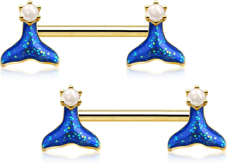 OUFER Mermaid 14G 2PCS Nipple Rings 316L Stainless Steel Nipple Piercing Jewelry Nipplerings Nipple Barbell