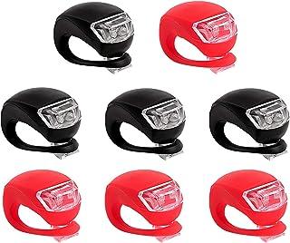 Awpeye 8 Pack Bicycle Light, Silicone LED Bike Light Set, 4 Pcs Bike Headlight and 4 Pcs Taillight (Red & White)-Multi-Purpose Waterproof Bike Light
