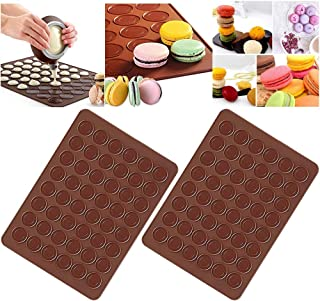 Xinlie Tapis de Cuisson Macarons Set de Cuisson pour faire Macarons Maison Mat pour Macaron Silicone Marron Plaque Macaron...