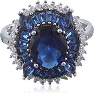 خاتم دائري مزين بفصوص كريستال للنساء، فضة عيار 925 - كحلي