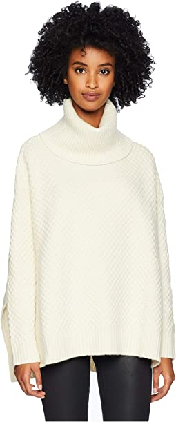 Marled Wool Cashmere Knit Long Sleeve Boxy Turtleneck w/ Side