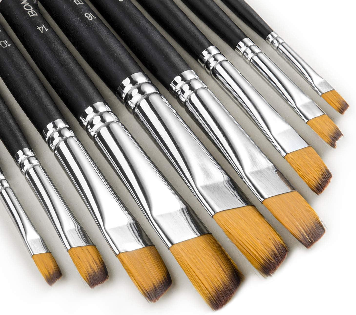 Pinceles pintura plana en ángulo acrílico acuarela pack 9