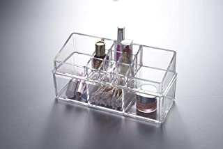 House of Quirk Cosmetic Make Up Clear Acrylic Organiser 3 Section Cotton pad holder with 11 sectipns Lipstick holder Combi...