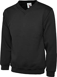 Uneek UC204 Mens Adults Premium V-Neck Casual Stylish Sweatshirt XS-2XL