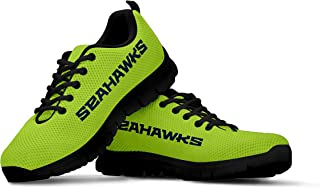 Seattle Seahawks Themed Green Casual Athletic Running Shoe Mens Womens Kids Sizes 12th Man Football Apparel and Gifts for Men Women Children