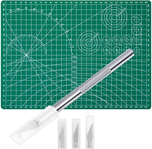 Anezus Craft Knife Precision Cutter and Self Healing Cutting Mat Hobby Knife Set with 30 PCS Hobby Blades Art Knife f...
