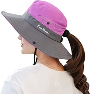 Women's Summer Sun UV Protection Hat Foldable Wide Brim Boonie Hats for Beach Safari Fishing