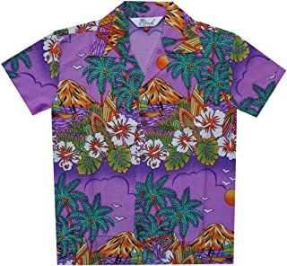 Hawaiian Shirts Boys Hibiscus Flower Print Beach Aloha Party Camp Short Sleeve