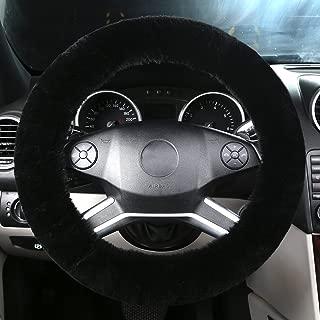 black sheepskin steering wheel cover