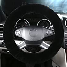 OGLAND Natural Fur Wool Sheepskin Fuzzy Black car Steering Wheel Cover,Protector for Universal Steering Wheel 35CM-42CM, Anti-Slip,Comforting and Luxurious, Soft Texture (Black)