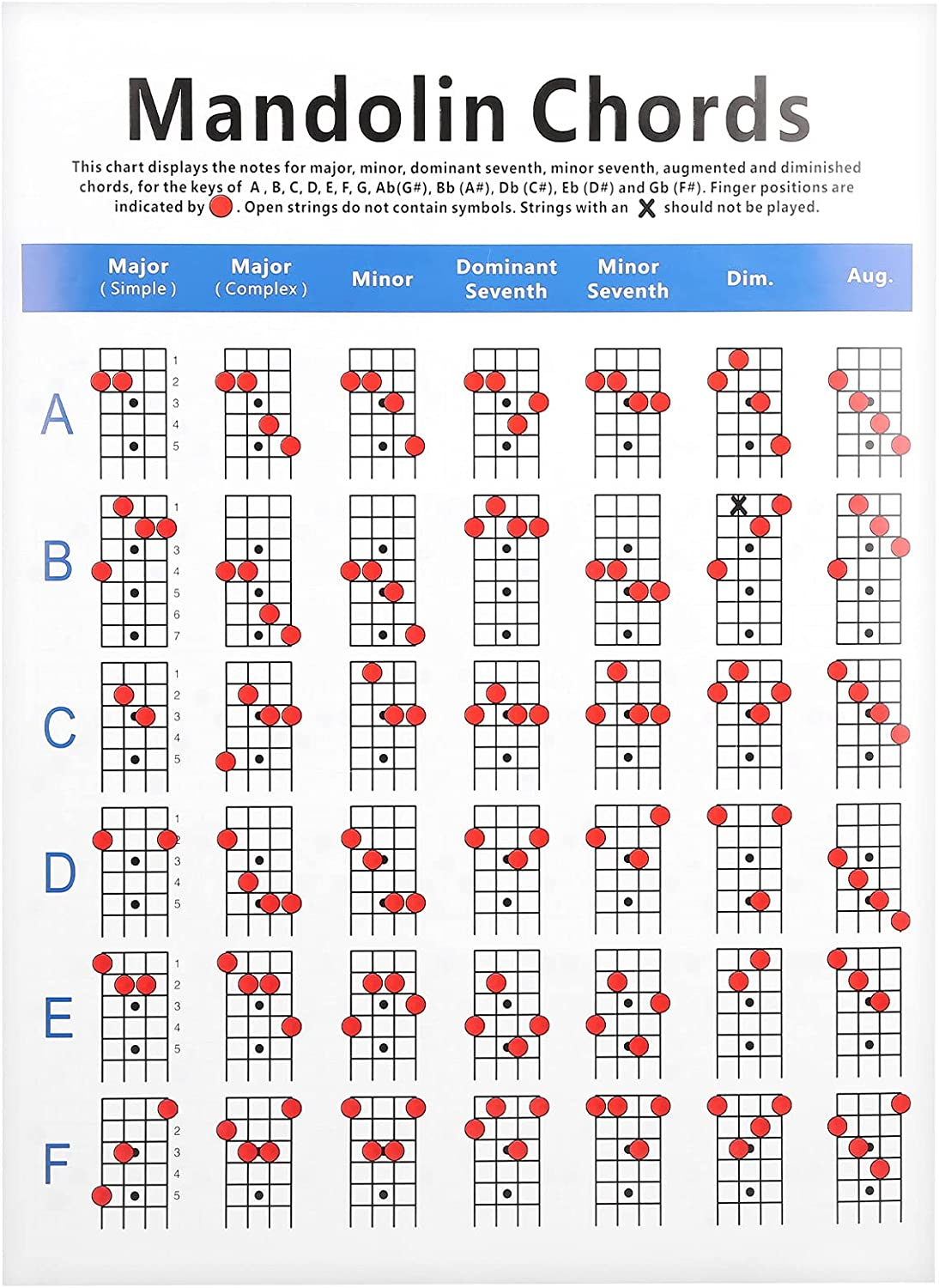 Mandolin Chords   Practical Mandolin Chord Chart Fretboard Notes Coated  Paper for Beginners Adult Kid