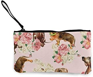 Dachshund Seamless Cute Canvas Change Cash Coin Purse, Make Up Bag, Cellphone Bag With Handle Wallet Bag Change Pouch