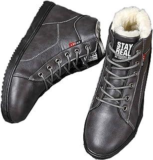 LangfengEU Hiver Fourrure Chaude Hommes Bottes pour Hommes Chaussures de Travail décontractées Adulte Marche en Caoutchouc...