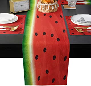 Infinidesign Watermelon Table Runner Set, 13x90inch Burlap Linen Table Runners, 6 Pieces Placemats for Holiday, Catering E...