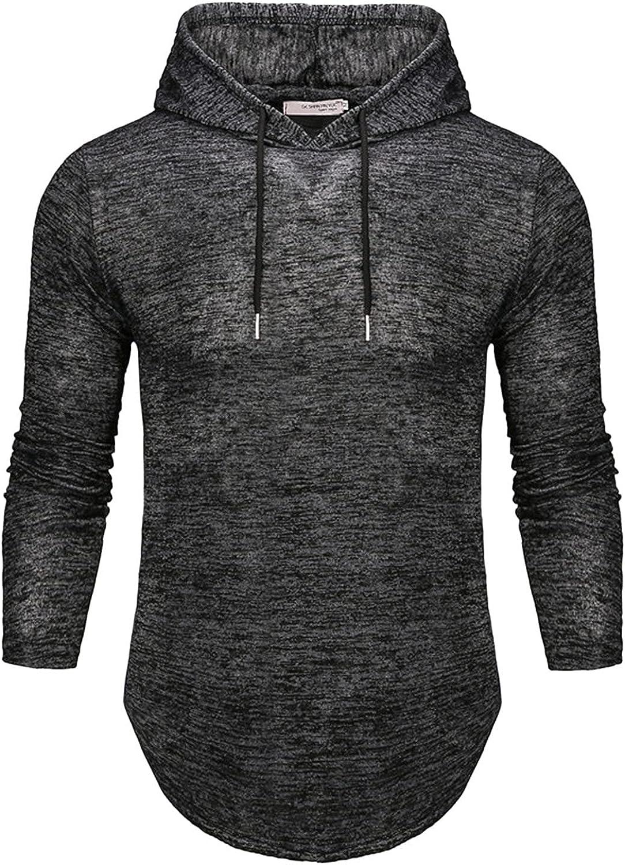 Hoodies for Men Fashion Irregular Athletic Hoodies Plain Sport Sweatshirt Long Sleeve Pullover Drawstring Tops