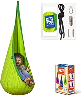 Amazeyou Kids Swing Hammock Pod Chair - Child's Rope Hanging Sensory Seat Nest for Indoor and Outdoor Use With Inflatable ...