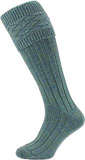 New HJ Hall Wool Rich Scottish KILT Hose With Fancy Cuff Top Sock