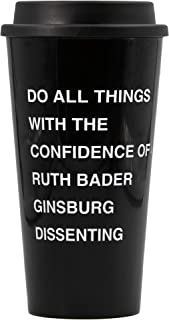 GETBULLISH Do All Things with the Confidence of Ruth Bader Ginsburg Dissenting Travel Coffee Mug in Black and Dove Grey