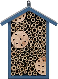 TZSSP Bee House Outdoor Handmade Wood and Bamboo Attract More Pollinating Wooden Insect Hotels Bees Bee Hotel,Blue