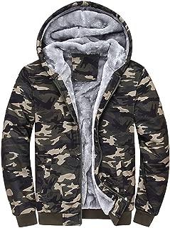 Mens Camouflage Jacket Hoodie Winter Warm Fleece Coat Zipper Sweater Outwear