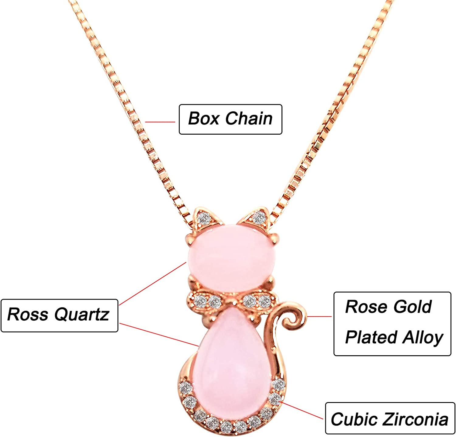 Cinsionze Little Girls Cute Cat Kitten Pendant Necklace Pink Rose Quartz Gemstone Cubic Zirconia Setting 18inch Box Chain Fashion Jewelry Short Necklace Gifts for Kids Child Daughter