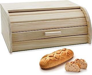 e!Orion Panera de Madera Natural de bambú con Tapa Enrollable, panera o Recipiente de Comida Seca para Almacenamiento de Cocina (35 x 25 x 15 cm)