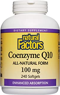 Natural Factors, Coenzyme Q10 100mg, CoQ10 Supplement for Energy, Heart and Antioxidant Support, 240 softgels (240 servings)