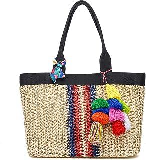 JOSEKO Stroh Strandtasche, Damen Umhängetasche Casual Handtasche Einkaufstasche Geldbörse Strandtasche (Beige) Khaki