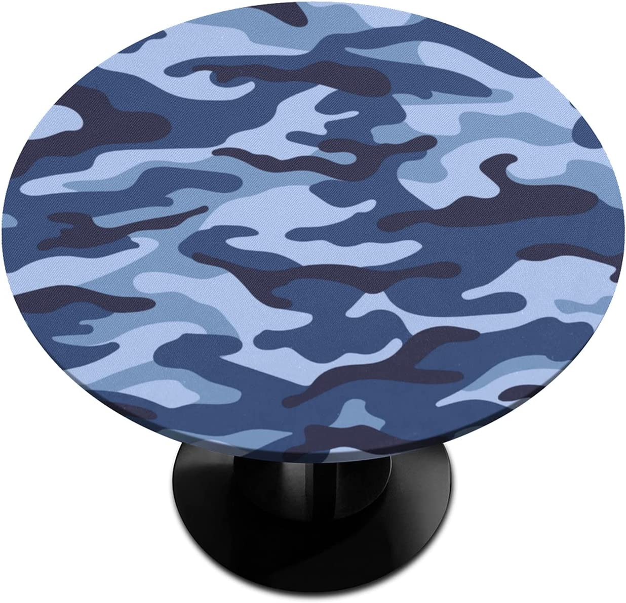BOLOLI Blue Camouflage Elastic Edged Tablecloth Opening ! Super beauty product restock quality top! large release sale Round Cam Fitted